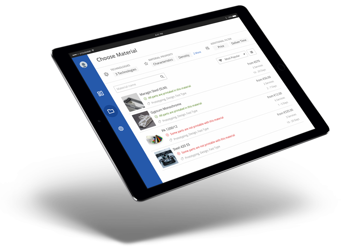 3YOURMIND eCommerce Platform Comparing 3D Printing Materials and Pricing