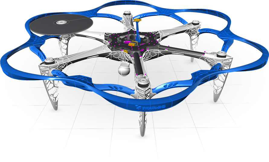 CAD Model of Drone Prepared for 3D Printing
