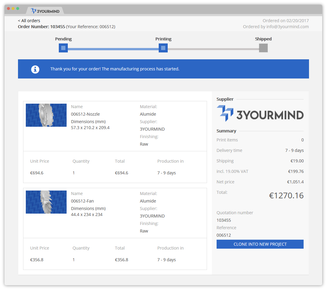 3YOURMIND Order Fulfillment Tracking Section