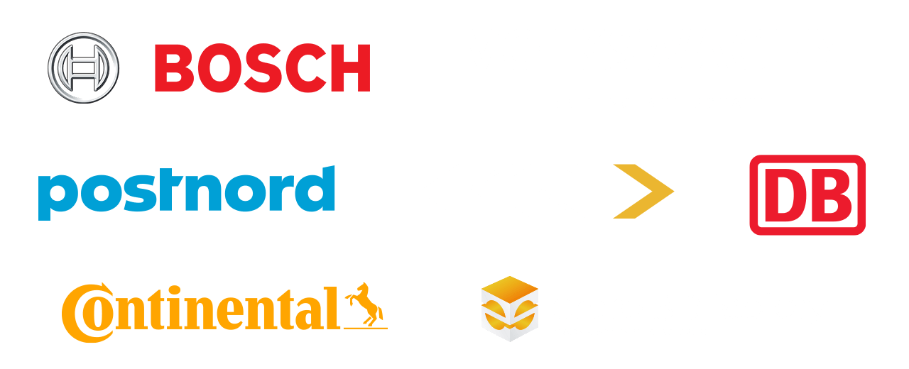 BOSCH, Volkswagen Group, Postnord, GKN, Deutsche Bahn, Continental, Erpro 3D Factory